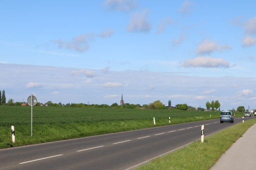 On the road L223 viewing direction Bardenberg with water tower