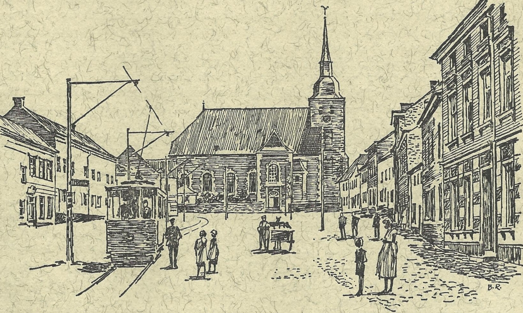Würselen Market Church of St. Sebastianus at the turn of the century